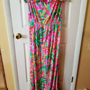 Lilly Pulitzer Amy Maxi Dress Lulu Flamingo Medium